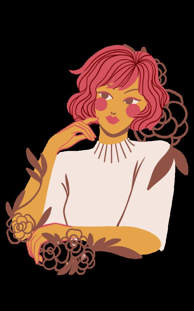 illustration d'une femme et de fleurs
