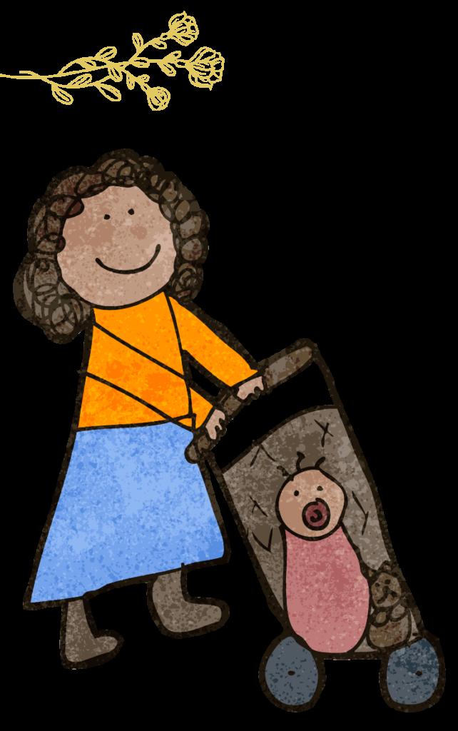 illustration d'une femme avec son bébé