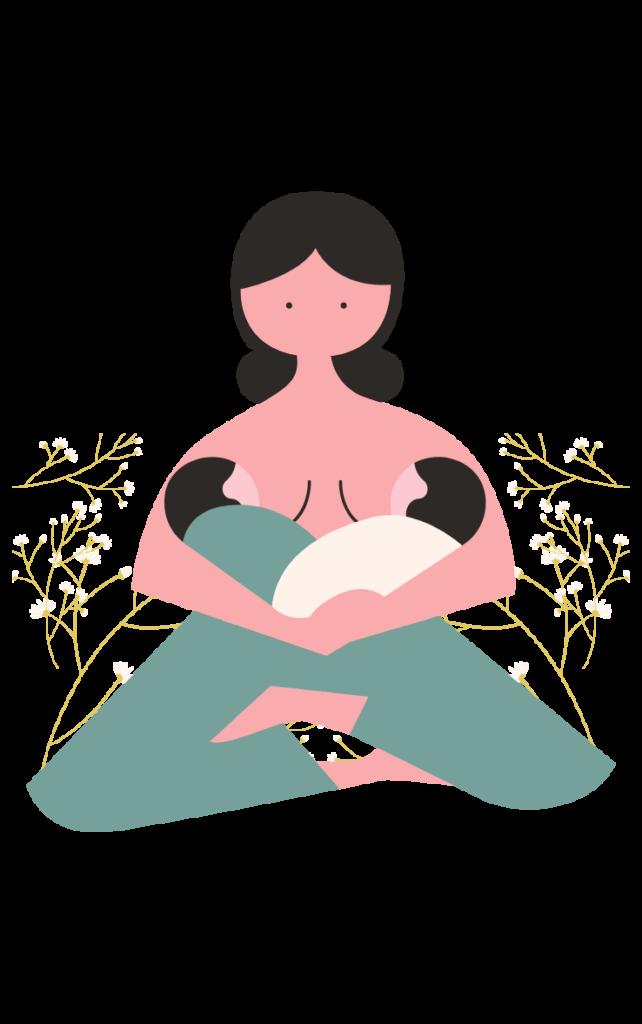 illustration d'une maman donnant les seins à ses jumeaux