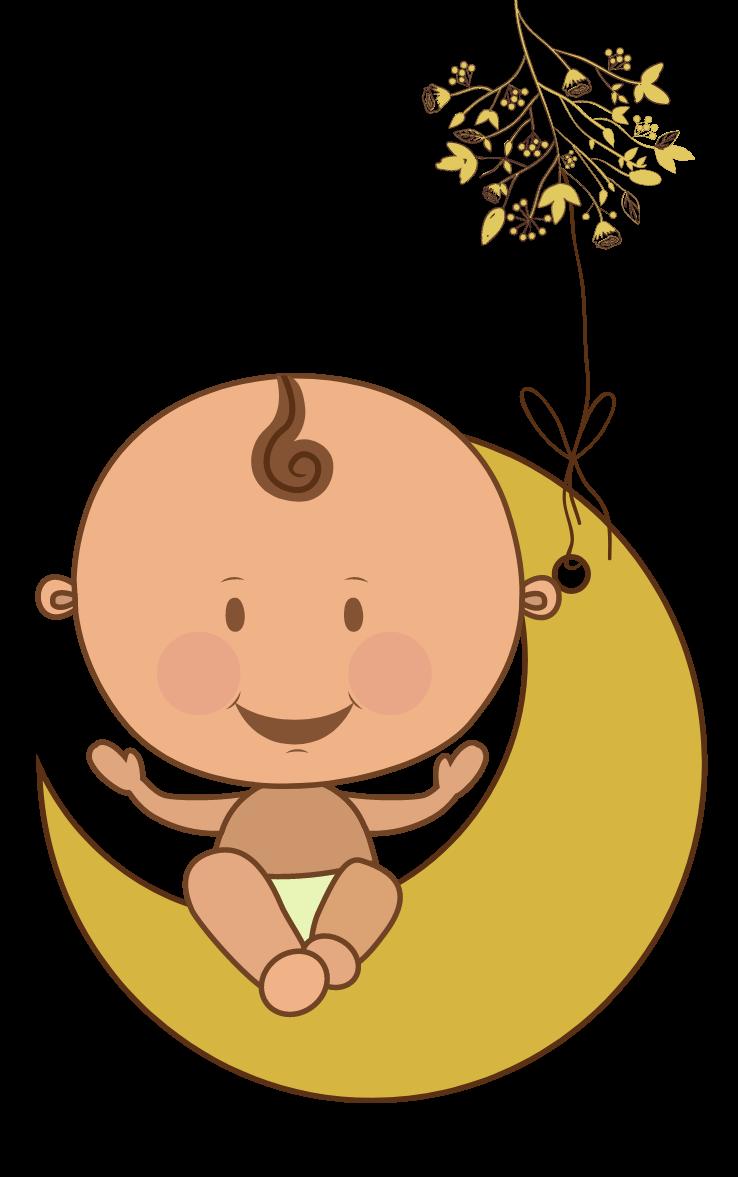 nourrisson posé sur une lune symbole de la naissance