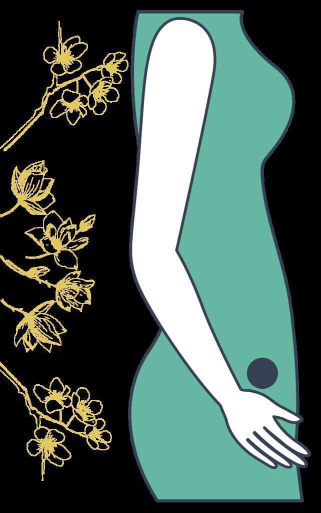 femme de profil avec un point sur le bas ventre symbolisant l'emplacement du périnée