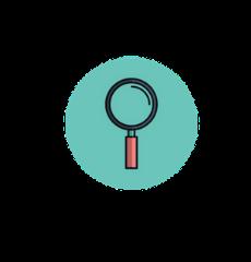 icône d'une loupe symbolisant la recherche clinique en science maïeutique