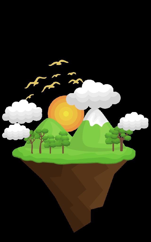 illustration en flat design de montagnes et de nature à Grenoble