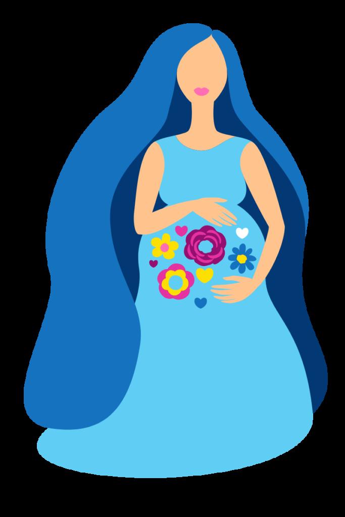 femme enceinte touchant son ventre rempli de fleurs symbolisant la vie